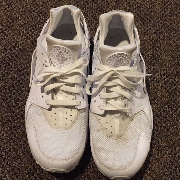 Nike Men's AIR HAUARACHE Athletic Shoes White Green Size 10 GUC